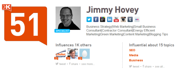klout scores jimmy hovey profile