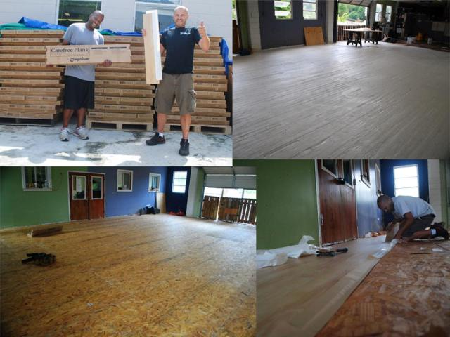 Mohawk contributed vinyl flooring to the LifeLine Animal Project doghouse renovation.