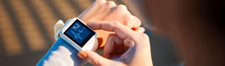 Smart watch showing health data