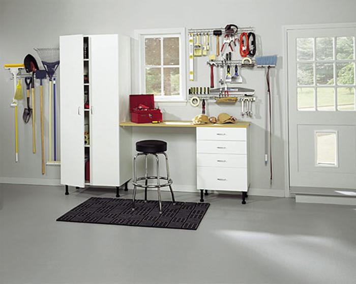 White Closet Garage Hobby Area