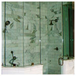 Brushed Nickel Clear Glass to Ceiling Steam Shower