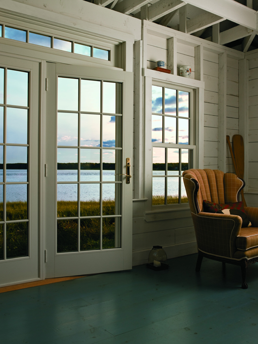 Exceptional A Series Frenchwood Hinged Patio Door, White Interior, Colonial Grille  Pattern, Newbury