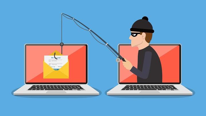 Cartoon image of man internet phishing