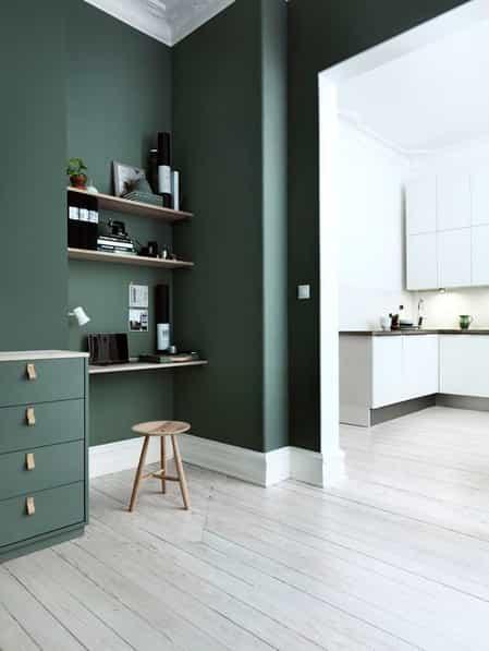 green hue with oak furniture