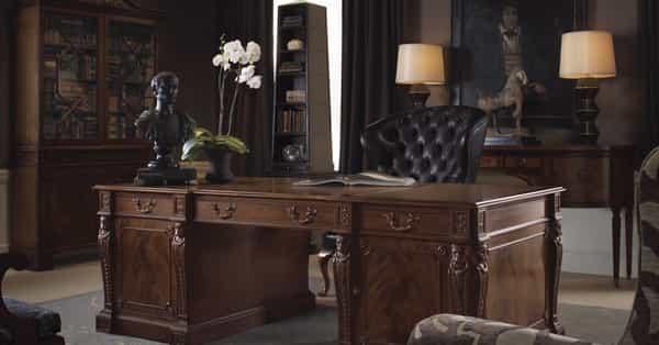 gentleman's study desk is the centerpiece