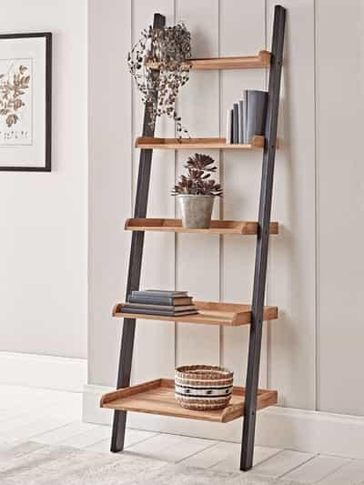 ladder shelf in hallway