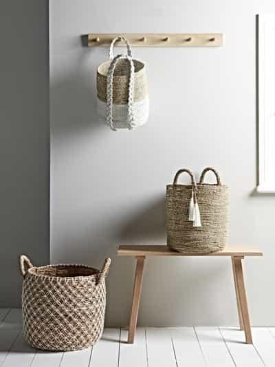 wicker baskets in hallway