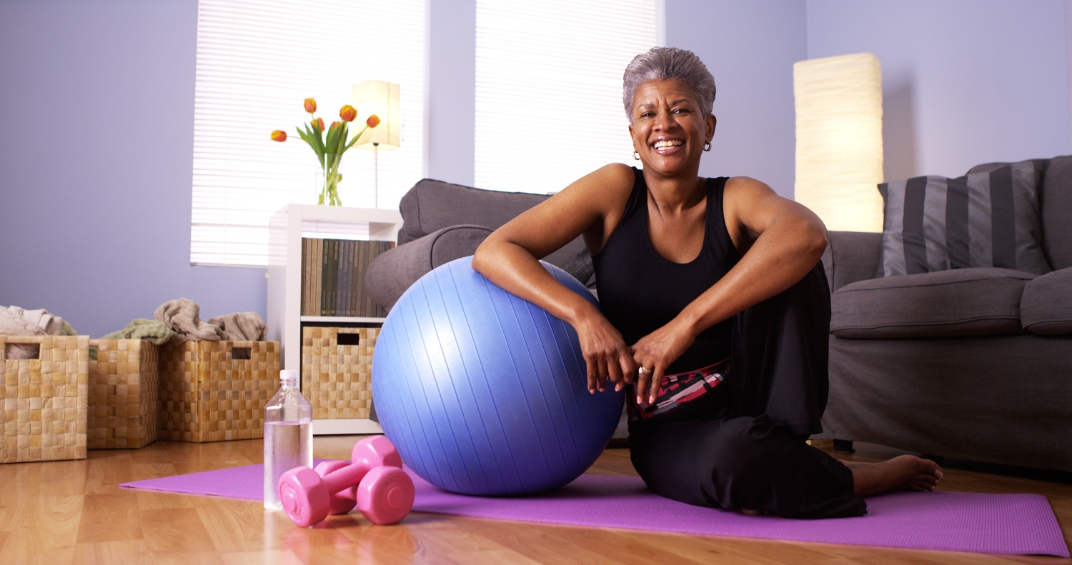 older adult woman exercising