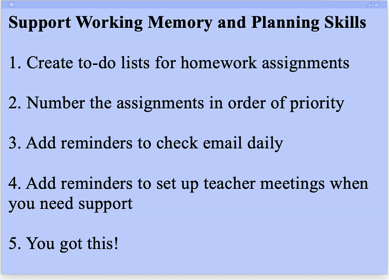 Tips to Support Working Memory and Planning Skills