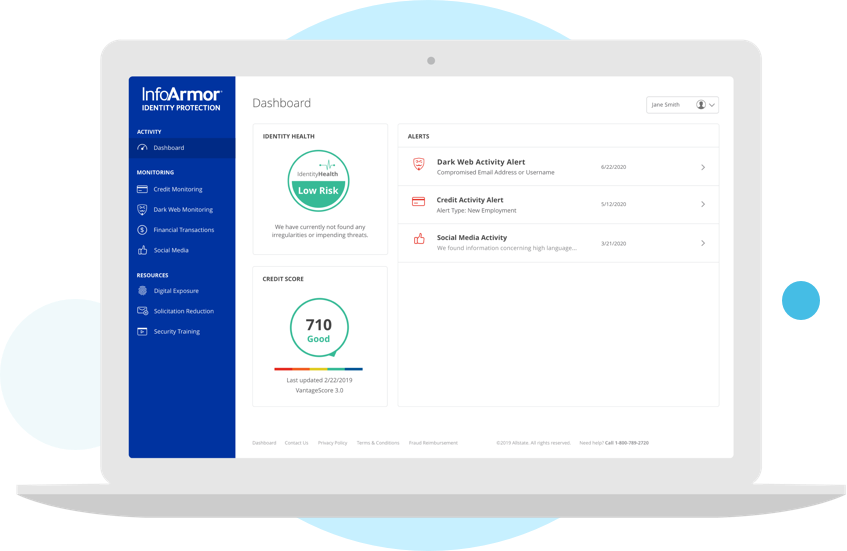 InfoArmor Identity Protection dashboard on a laptop