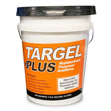 The Targel Plus Sealer Additive improves the resistance of the asphalt sealcoating material against gas, fuel, and oil.