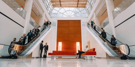 building lobby escalators
