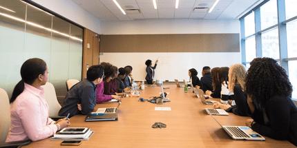 business presentation whiteboard employees