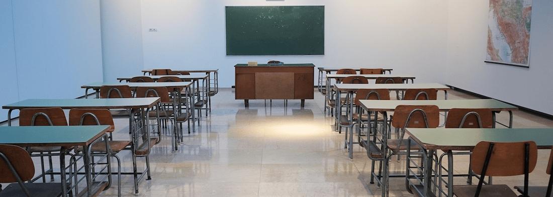 empty classroom with chalkboard