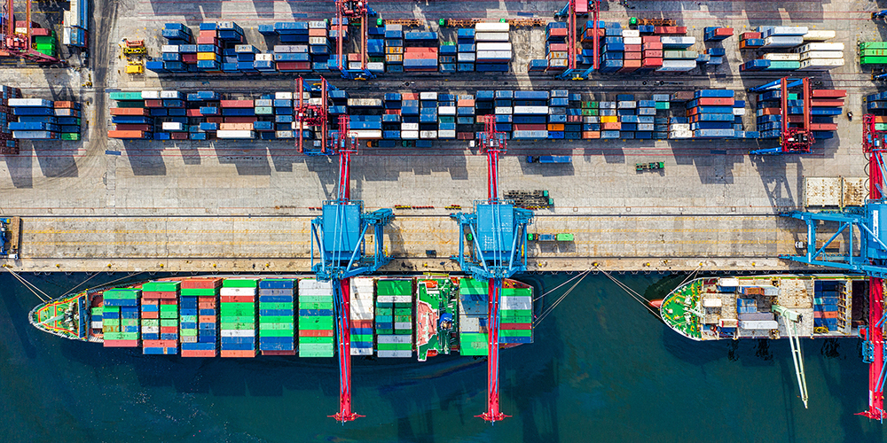 Logistics cargo ships shipyard