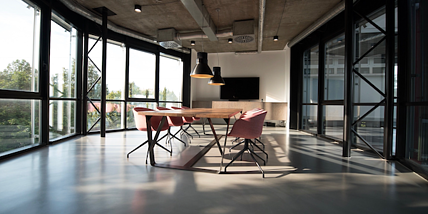 open office meeting room large windows