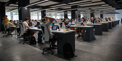 Employees in a crowded office