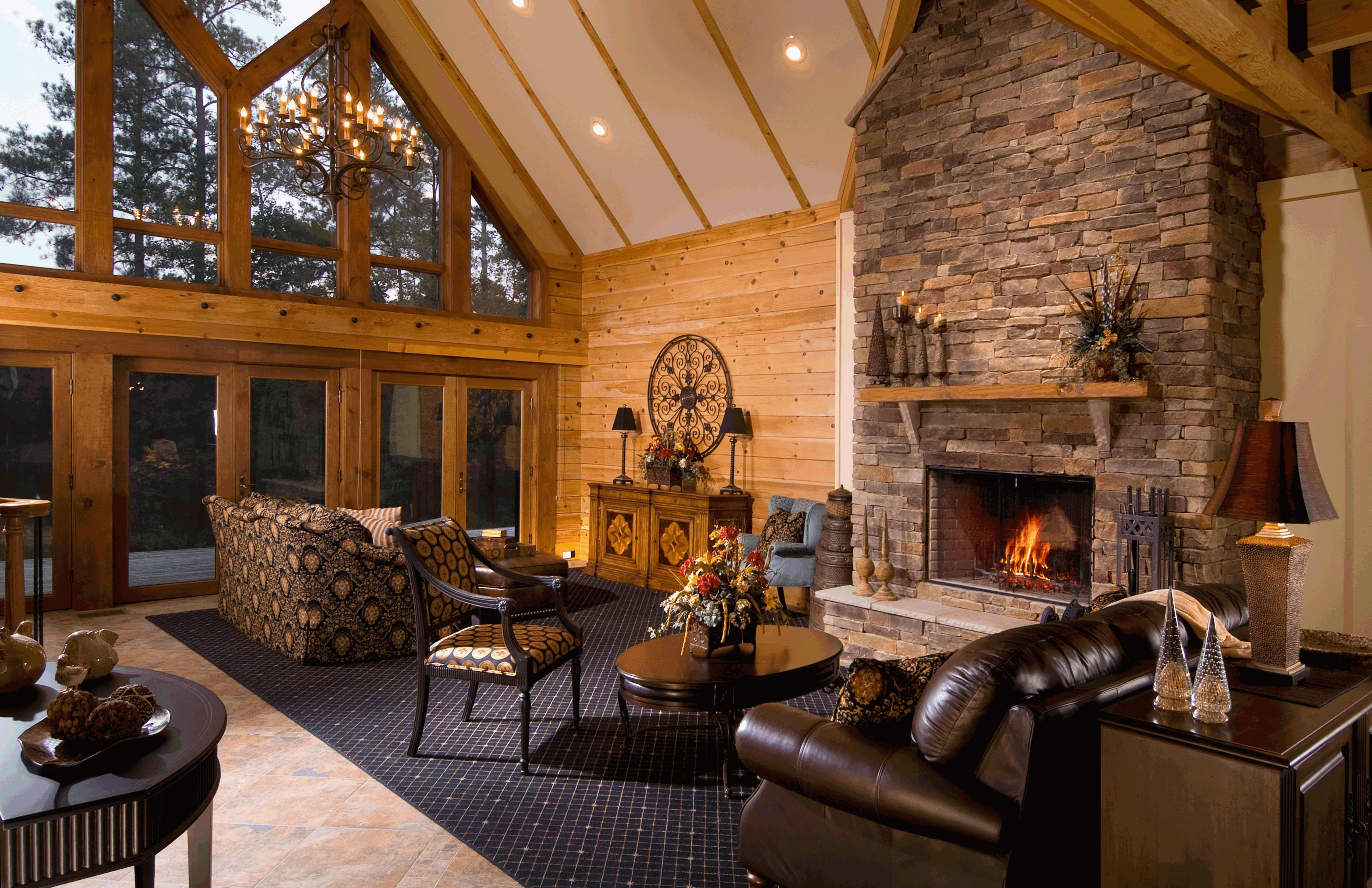 a fireside chat about fireplaces in log homes. Black Bedroom Furniture Sets. Home Design Ideas