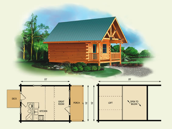 Rapo lofted barn cabin floor plans for Small log cabin plans with loft