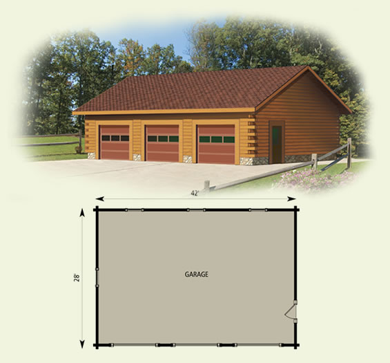 Garage for Log cabin house plans with garage