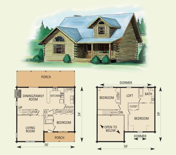 Tucker for Log cabin floor plans with 2 bedrooms and loft