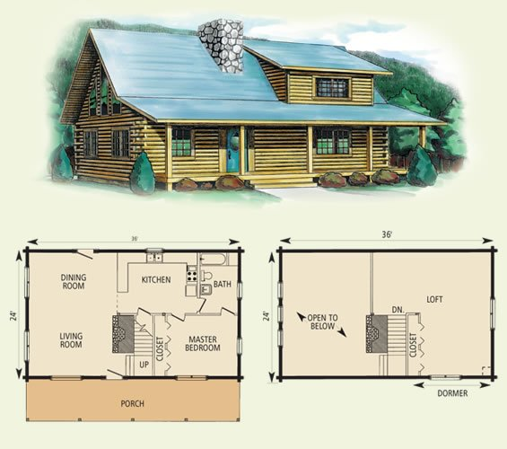 Log Cabin with Loft Plans