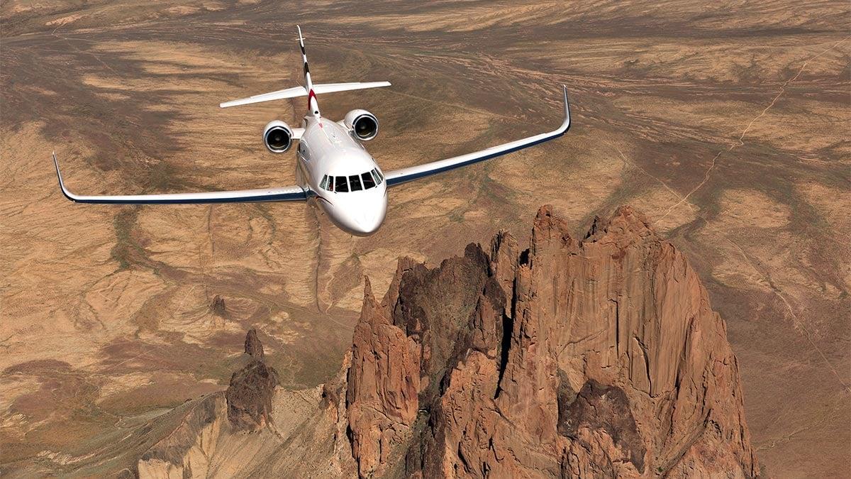 Dassault Falcon 2000LXS in flight in the desert