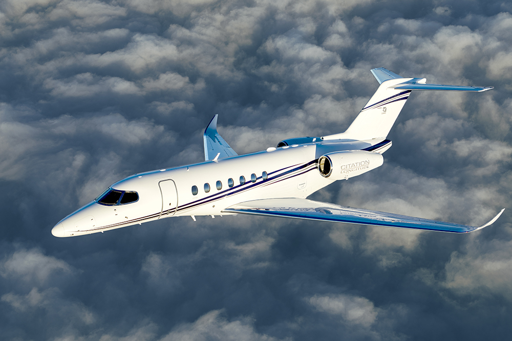 Cessna Citation Longitude flying in the clouds