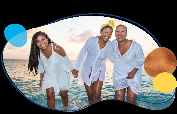 three girlfriends vacationing