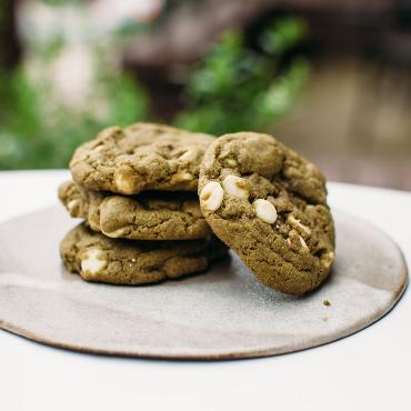 Cardamom Matcha White Chocolate Chip Cookies