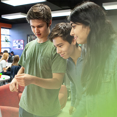three students working