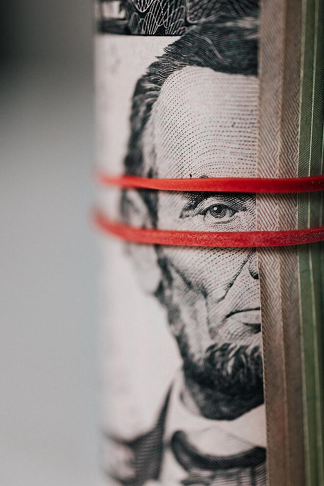 Lincoln looking through rubber bands
