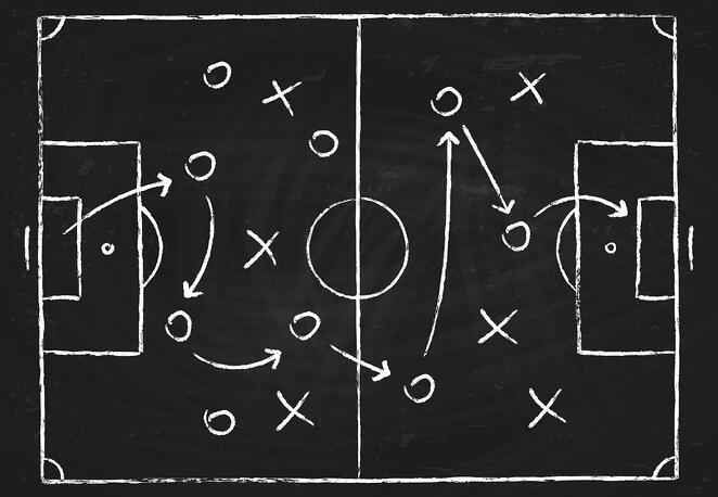 chalk board with sports play