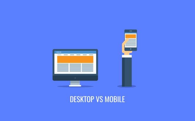 desktop vs mobile cartoon on blue