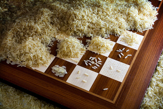 Rice doubling every square on a chessboard