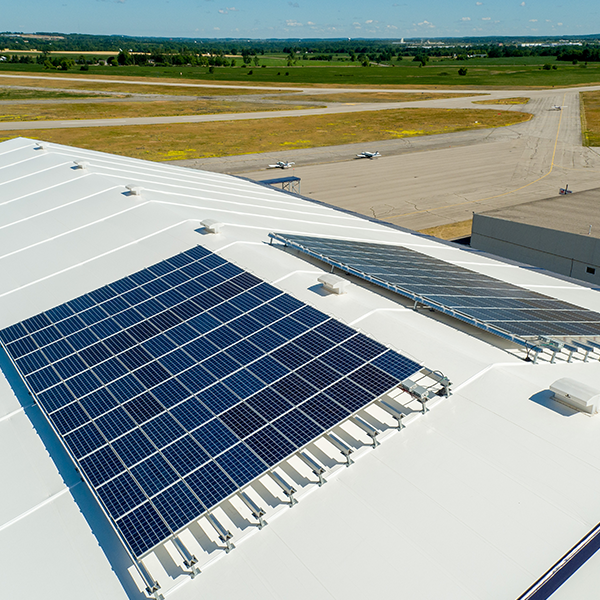 solar panels on fabric building