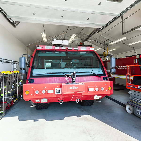 fire truck in fabric building