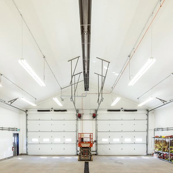 fabric building with overhead doors