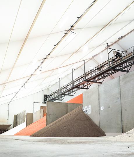 lined fabric fertilizer storage