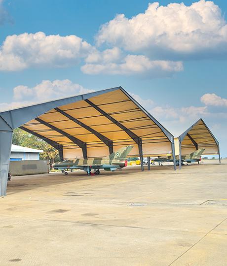 fabric airplane hangar