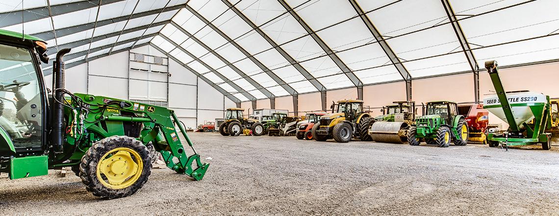 farm equipment in building