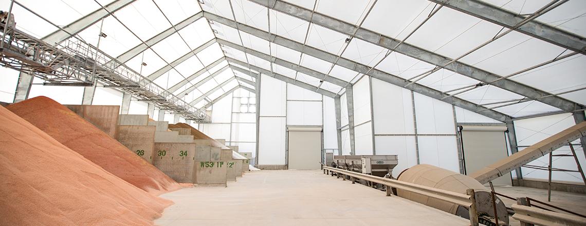 indoor shot of fertilizer piles