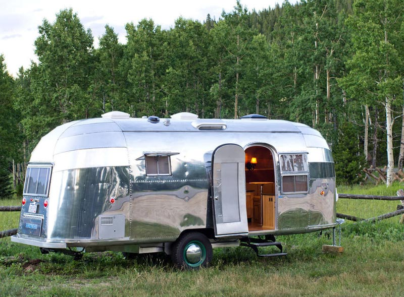 Little Beauty Vintage Airstream Trailer Hire with chrome finish