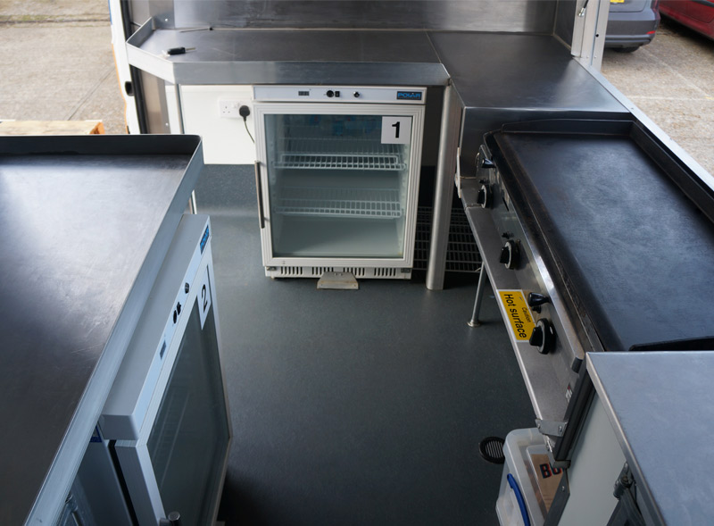 Modern Sampling van cooking appliances interior for Burger and Lobster activation