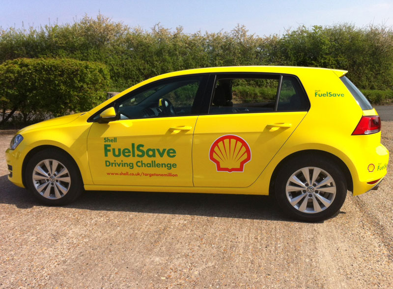 Shell branded wrapped car