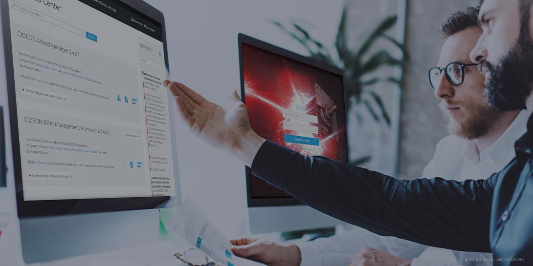 Anwender nutzen das CIDEON Software Portal im Büro vor dem Bildschirm.