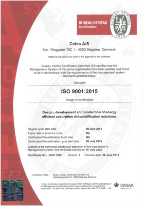 ISO 9001-2015 COTES AS