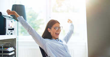 Chaser - Woman celebrating 4 ways to make the most of 'Thanks for the Payment' emails