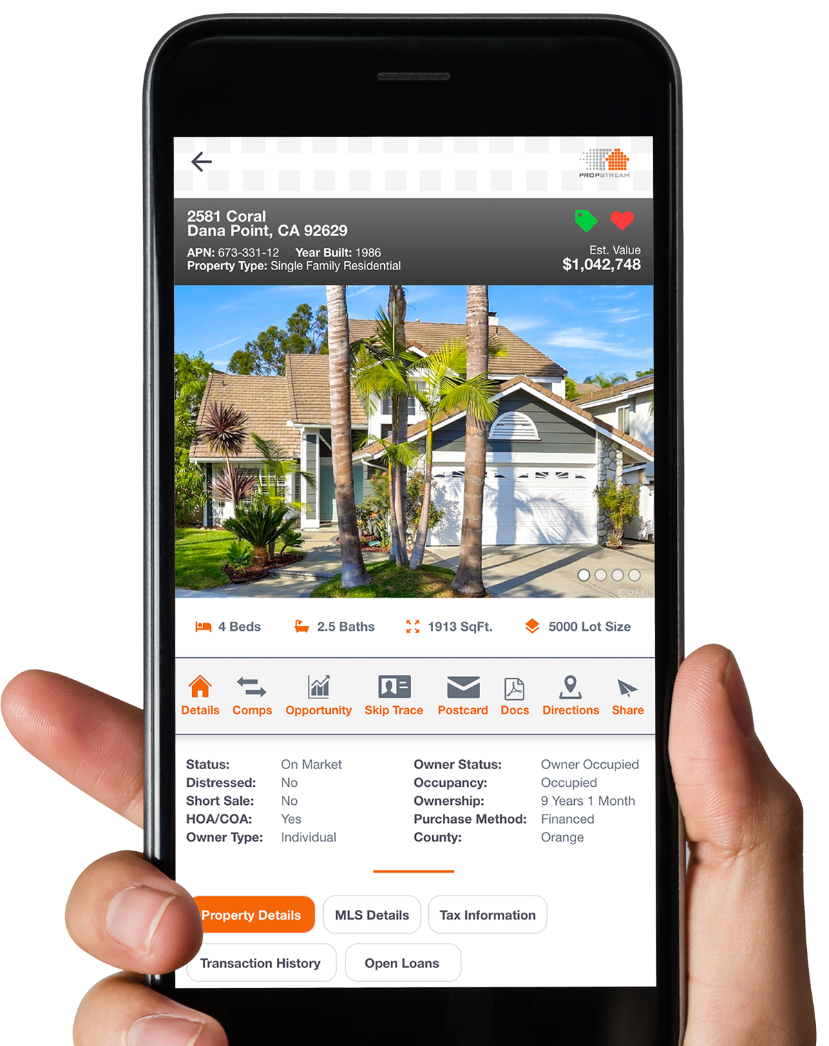Propstream mobile app finding real estate data