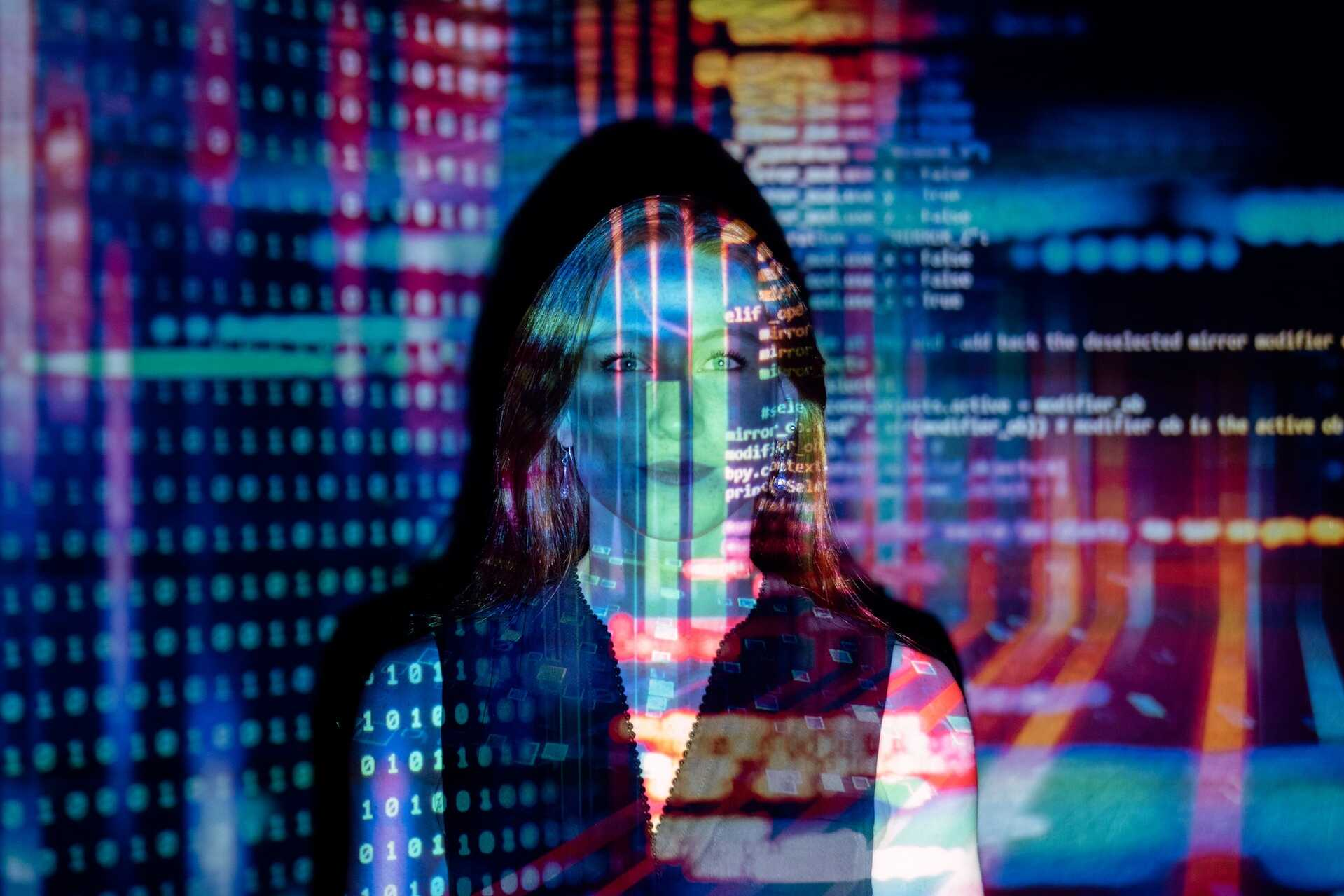 woman with lots of code